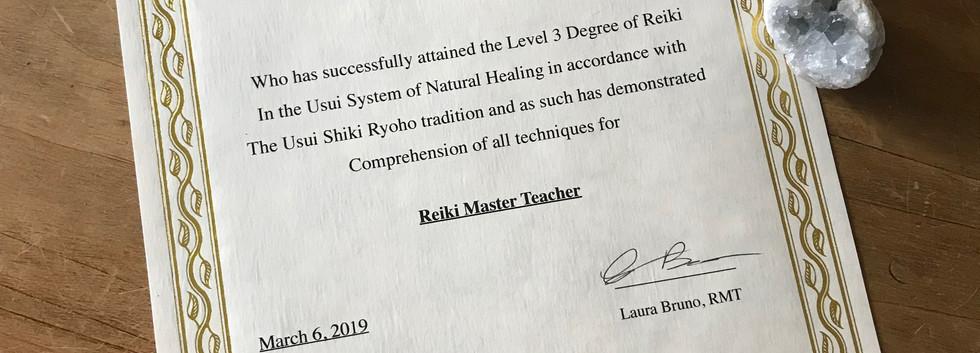 Reiki Master Teacher Certificate