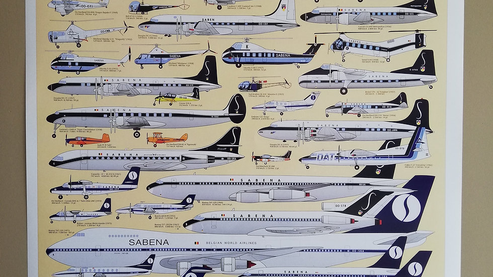 Sabena Poster Sabena Belgium Greatest Airplanes History 1923-2001