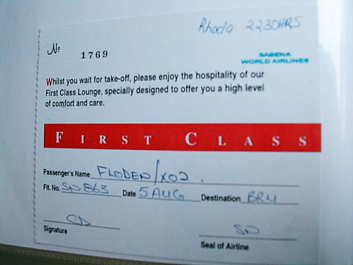 Sabena First Class Lounge - Sabena World Airlines - New Ticket