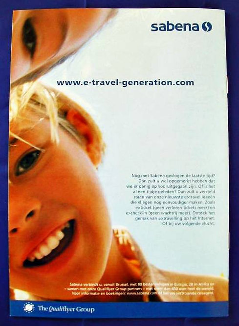 Sabena Ad Publicity from Travel Magazine Brochure