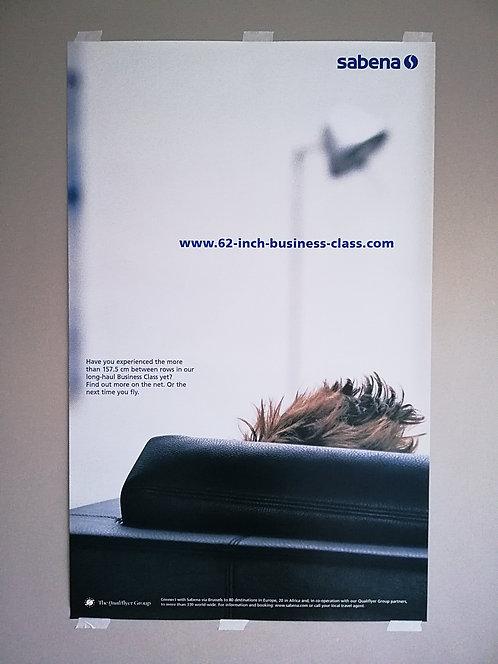 Sabena Poster Qualiflyer Group 1990's QG-L3 Man in Lounge
