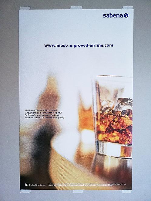 Sabena Poster Qualiflyer Group 1990's QG-L7 Whisky in Lounge