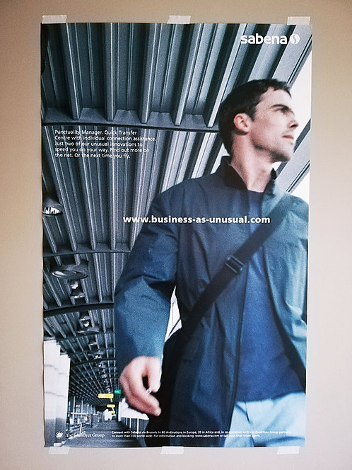 Sabena Poster Qualiflyer Group 1990's QG-L2 Man at Airport Terminal