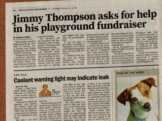 Newspaper Prints Playground Fundraiser Next to Rocket - Both have something in common.