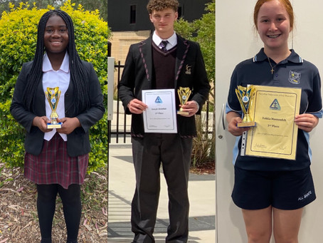Year 10 Public Speaking Award Winners 2020