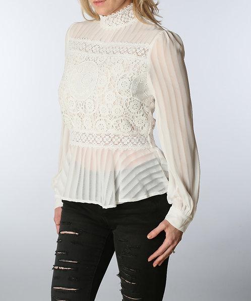 White Sheer Lace Peplum Blouse