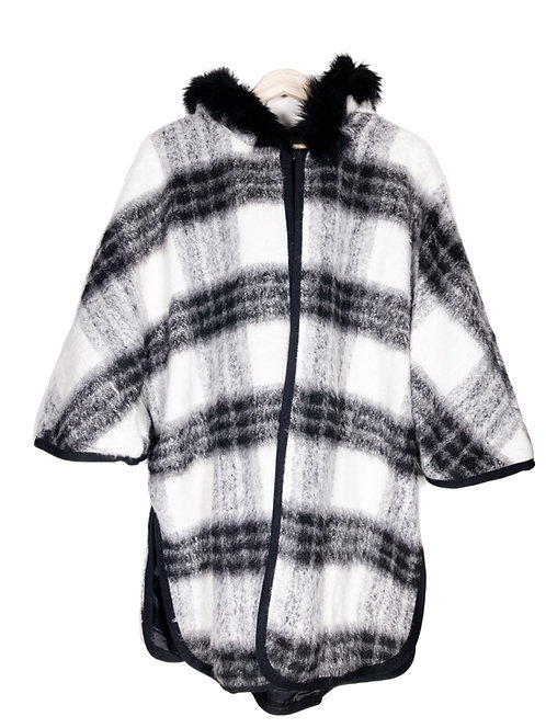 Oversize Checkered Poncho with Fox Fur Hoodie