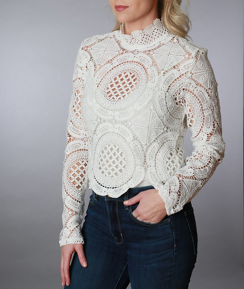Lace Zip Back Tneck