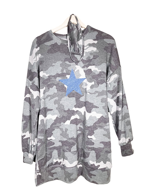 Camo Print Sweatshirt with Side Slits + Matching Face Mask
