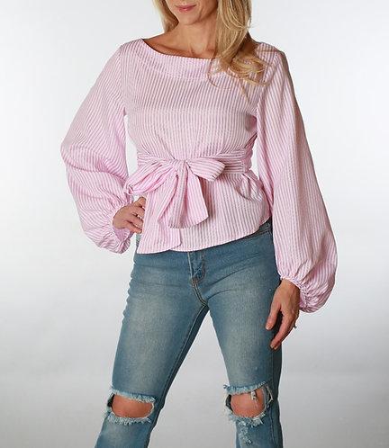 Sarah Pink Pinstripe Ruffle Blouse