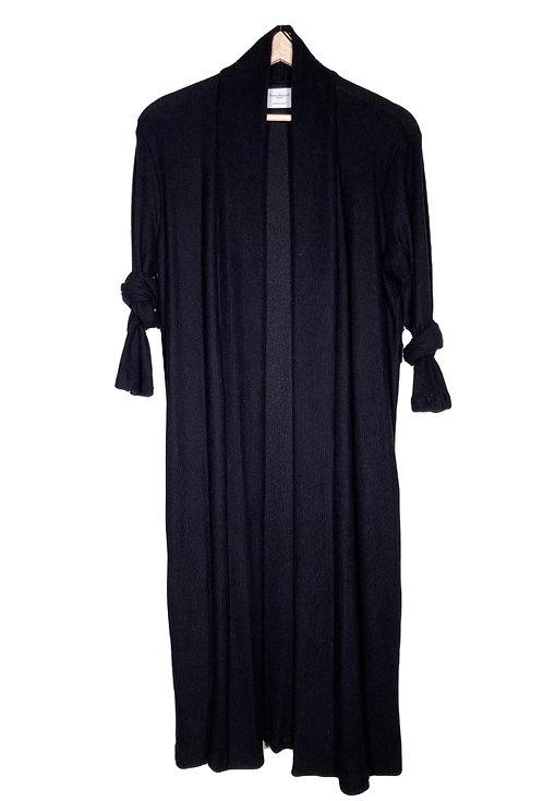 Black Duster Cardigan with Custom Star Design