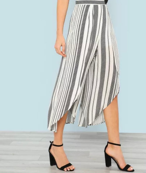 Black and White Open Front Palazzo Pant