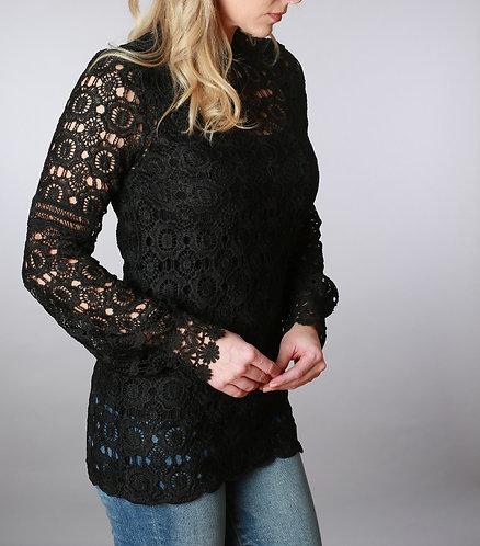 Black Lace Mock Neck Tunic