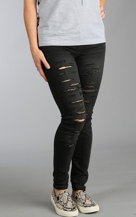 Perfectly Distressed Black Jeans