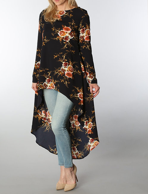 Floral Duster Blouse in Navy