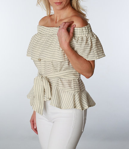 Tie Waist Off-The-Shoulder Ruffle Blouse