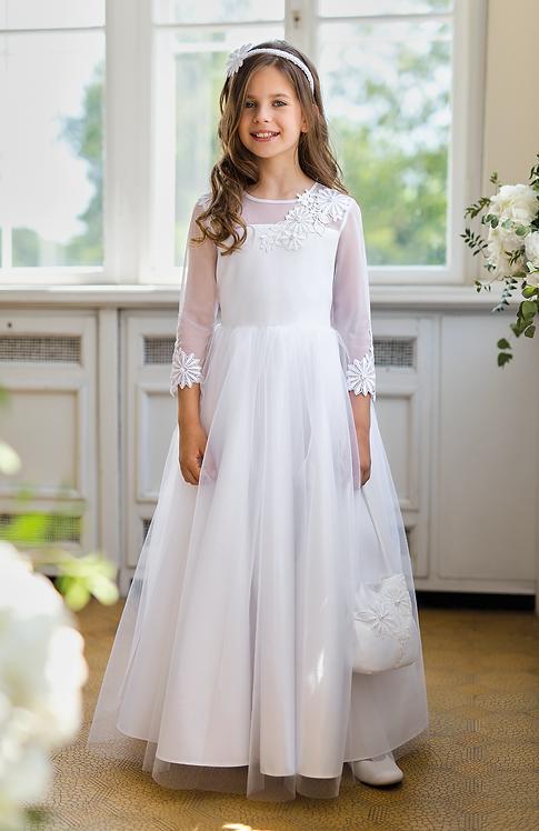 Kleid lang weiß Blume (1/SM/20)