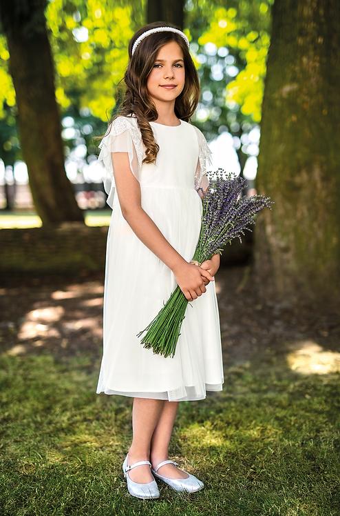 Kleid beige-weiß (9b/SM/20)