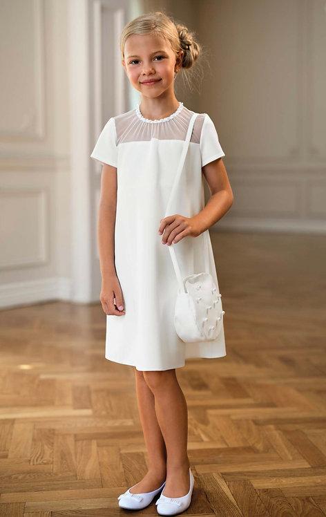 Kleid beige-weiß Perlen (24/SM/20)
