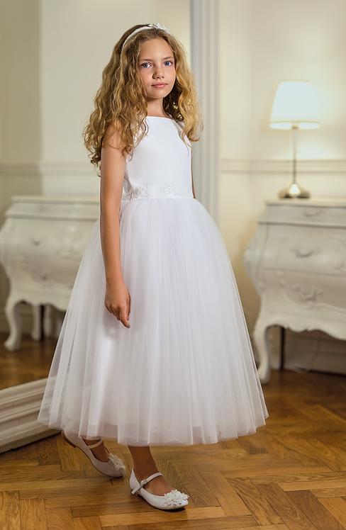 Kleid beige-weiß (8b/SM/20)
