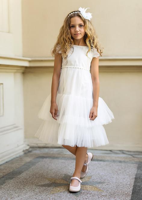 Kleid beige-weiß (22/SM/20)
