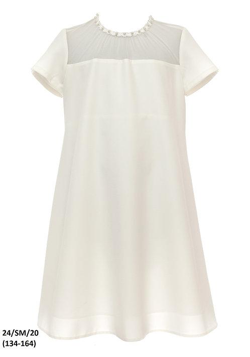 Kleid beige-weiß (24/SM/20)