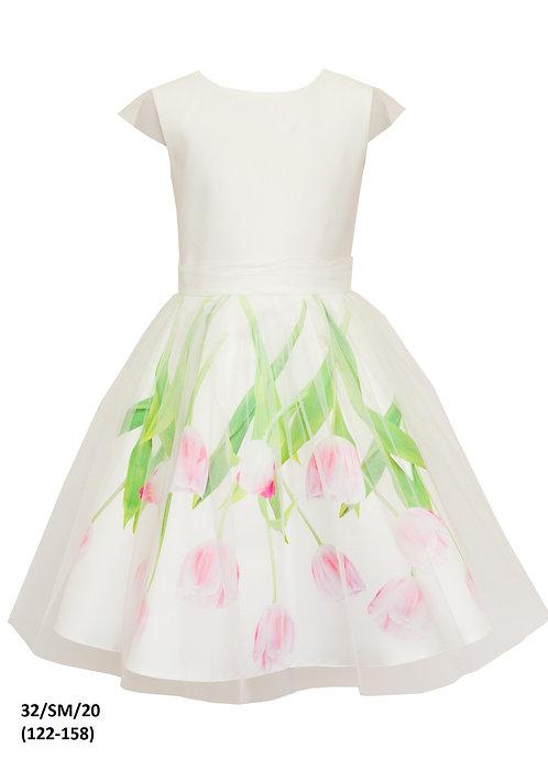 Kleid weiß Blumen (32/SM/20)