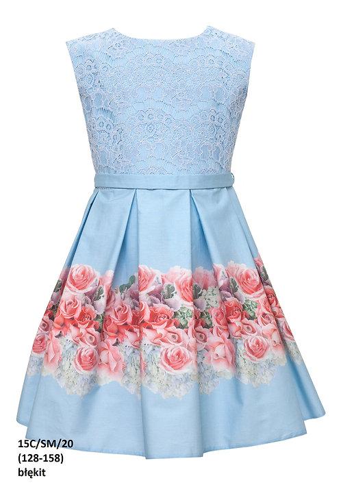 Kleid blau mit Rosen (15c/SM/20)
