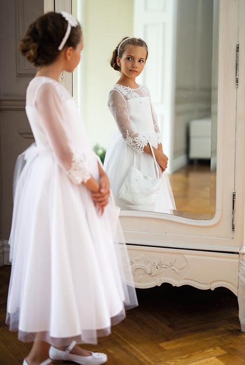 Kleid weiß langarm Blumen (2A/SM/20)