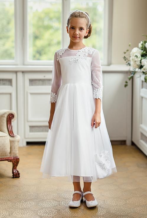 Kleid beige-weiß langarm Blumen (2b/SM/20)