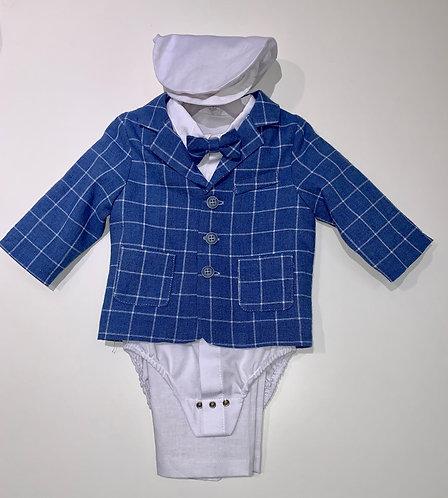 Anzug blau weiß gestreift