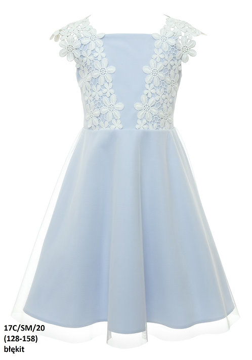 Kleid hellblau Blumen (17C/SM/20)