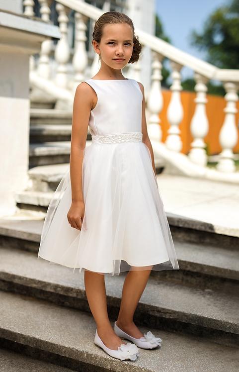 Kleid beige-weiß (7b/SM/20)