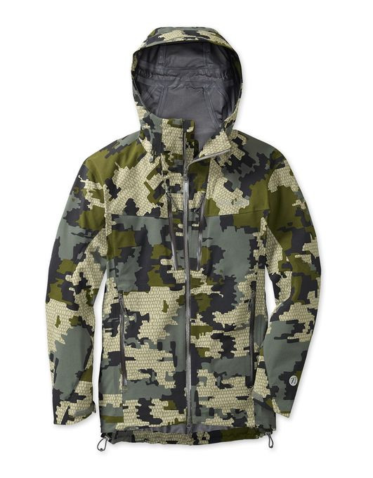 If you're preparing for a tough hunt that's wet and brush-choked, you need protection from a rain gear system that's durable, lightweight, and dries quickly. The Kutana Storm Shell Jacket features an entirely new microporous hydrophobic membrane from Toray that breathes even when activity level is minimal, and absorbs very little water for incredibly fast dry times. The durable stretch nylon 6/6 face fabric offers great tear strength for its weight, and will stay dry longer due to a new, more durable K-DWR treatment. The new Torain 3-layer construction from Toray adds a revolutionary new seam tape that, along with the membrane, give enhanced hydrolysis resistance for significantly improved garment longevity. Designed as a full-featured jacket with all of the built-in pocketing, ventilation, and cinch options you need for a difficult hunt, the Kutana Storm Shell Jacket furthers our never-ending goal of offering improved performance and durability at a lighter weight.