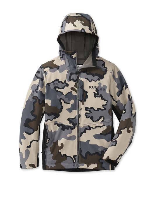 The KUIU youth line brings technical fabrics, build, and performance to the next generation of hunters. The Rubicon Hooded Jacket features a bonded soft shell fabric similar to that of the popular Guide DCS Jacket. A durable, wind and water resistant face is bonded to a soft fleece backer, providing ultimate comfort in cool and cold weather. This jacket features zippered hand and chest pockets, adjustable cuffs, articulated sleeves and a well fitted hood. With its streamlined design, this jacket is ideal for hunting and everyday wear.