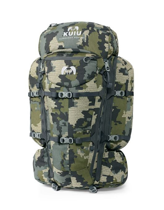 The new KUIU PRO Pack is our most versatile redesign with added features making it more robust and easier to use for backpack hunting sheep, elk and deer. New center-divided side-accessible rear cargo pockets give you more storage room and eliminate the need to remove your gun or bow to access food, spotting scope and gear.  New reinforced Hypalon attachment yokes link the side compression straps—allowing you to cinch the pack down tight against the frame for a sleek, low profile, or for securing the heaviest loads. Extremely durable 500D CORDURA® ripstop fabric throughout adds durability for the worst conditions.  Each pack may be easily transitioned into Load Sling Mode, which opens an extra 2500 cu in of storage for hauling meat or gear between the Carbon Frame and Bag. Combine this feature with KUIU Game and Gear bags to complete the system.  KUIU PRO 7800 is equipped with a removeable 1000 cu in storage lid that's perfect for storing camp essentials—easily unclip it to lighten your load for day trips away from camp. In the lighter lidless configuration, the extendable shroud cinches tight, keeping the elements out.  KUIU packs are made with materials chosen for performance and durability, including Spread Tow Carbon Fiber, CORDURA® Nylon fabric, YKK® Zippers, and Duraflex® hardware. With five different sizes to choose from—1850|2300|3600|6000|7800—you may quickly change out bags and adapt to any situation.