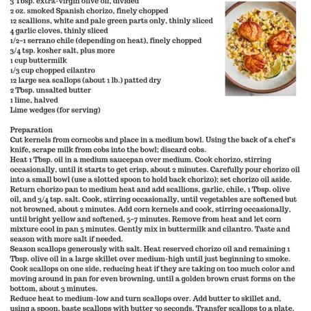 Pan Seared Scallops with Corn and Chorizo