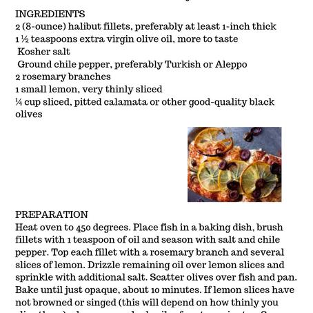 Halibut with Lemons, Olives, & Rosemary