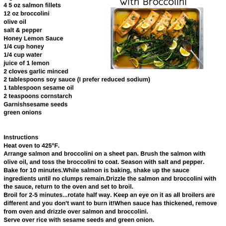 Sheet Pan Salmon with Lemon, Honey, and Broccolini