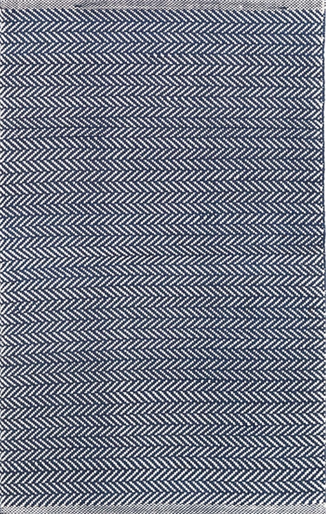 Indigo and Ivory Herringbone Rug