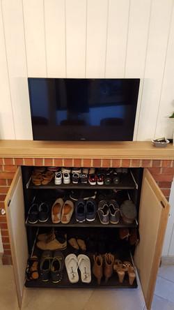 Habillage ancienne cheminée et meuble à chaussures