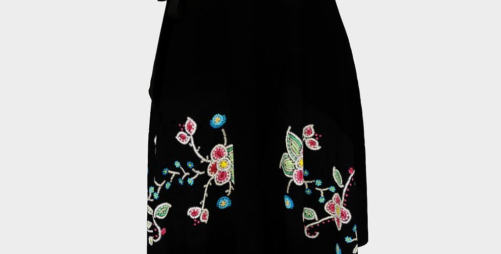 Beadwork printed Wrap Skirt
