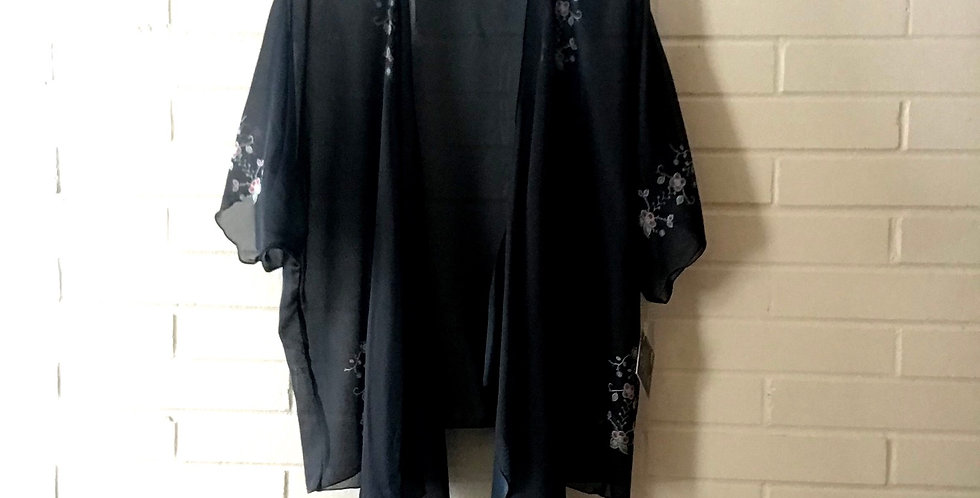 Black Printed Beadwork Chiffon Kimono