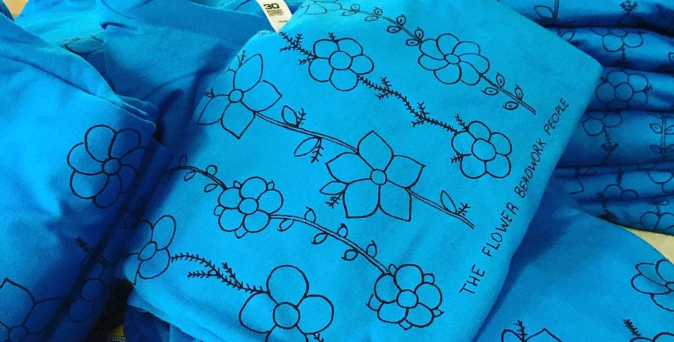 Teal blue The Flower Beadwork People Unisex T-shirt