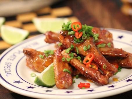 Smoked Duck Wings with Sriracha-Peach Glaze