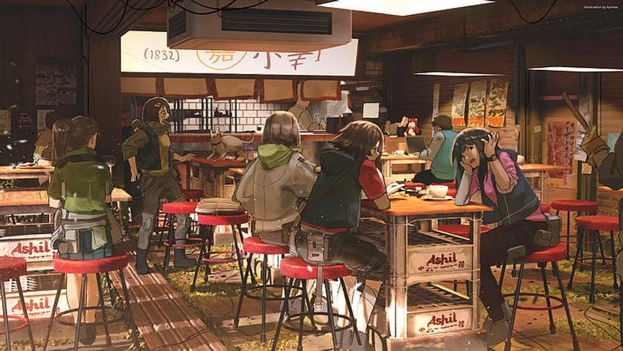 anime-anime-girls-cats-food-restaurant-h