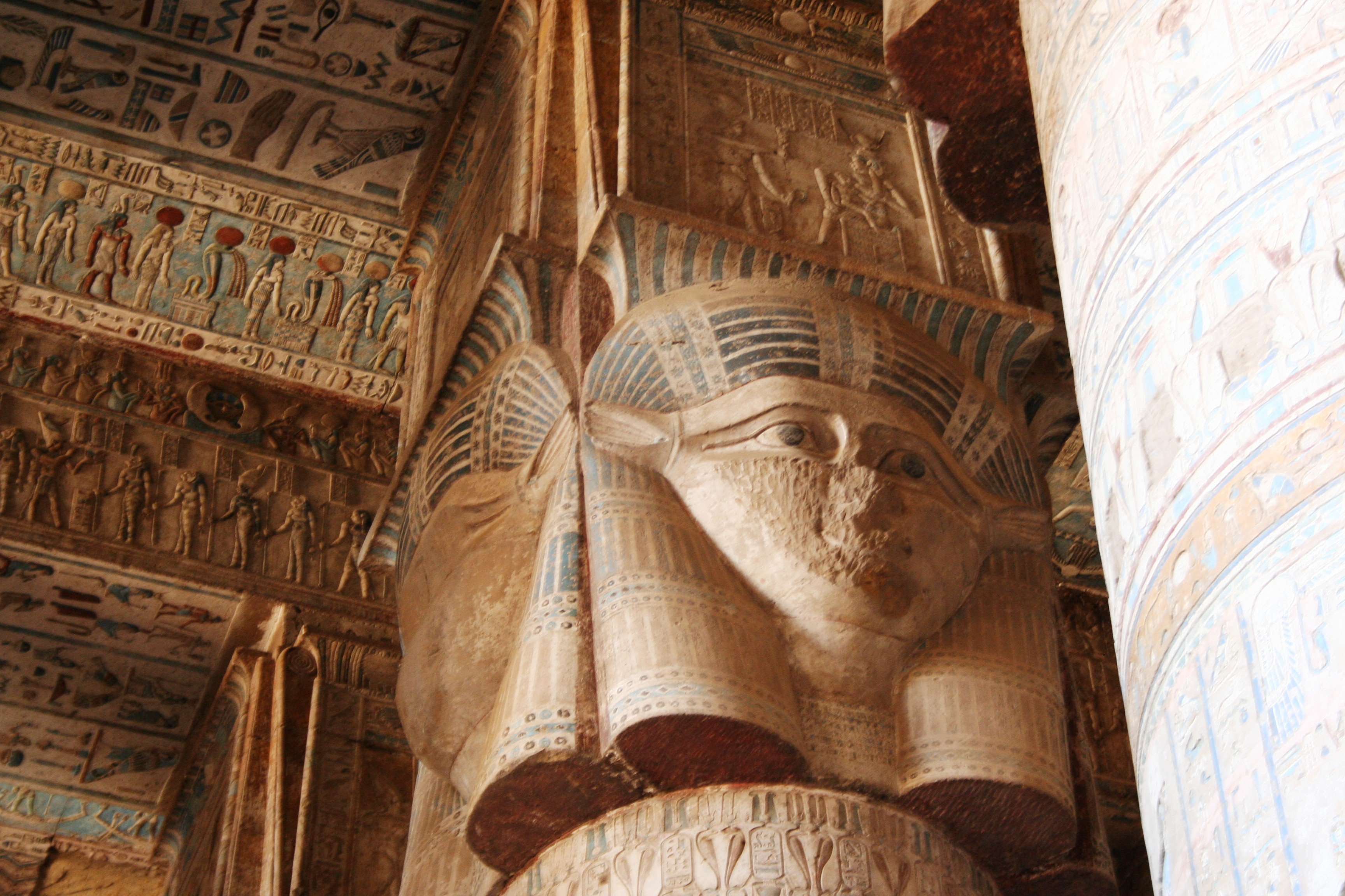 Hathor Carvings in Dendera Columns