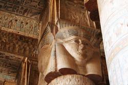Hathor Carvings in Dendera Columns