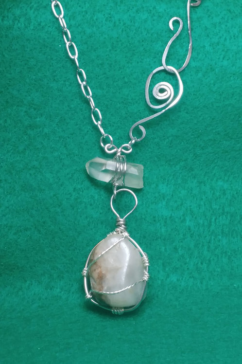 Quartz Crystal and Natural Stone Pendant