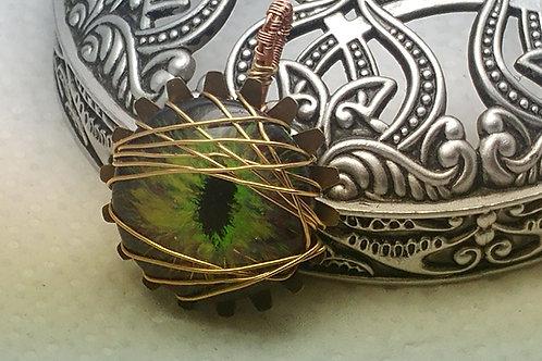 Gold/Green Dragon Eye Pendant
